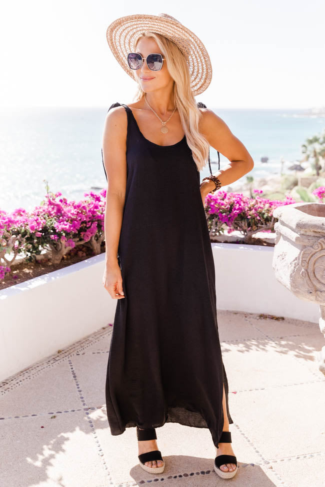 Midnight Message Tie Strap Black Maxi Tank Dress