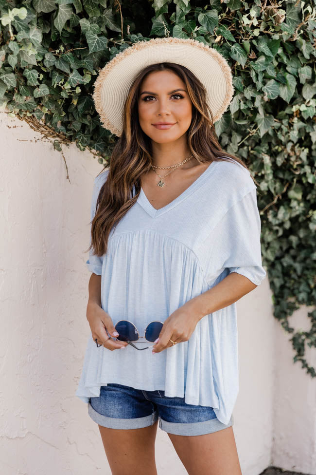 First Date Dreams Babydoll Knit Blouse Blue