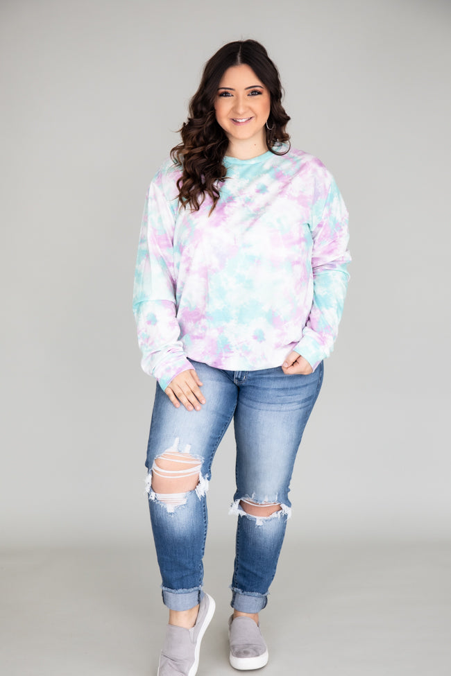 Chilled Out Tie Dye Pullover Mint