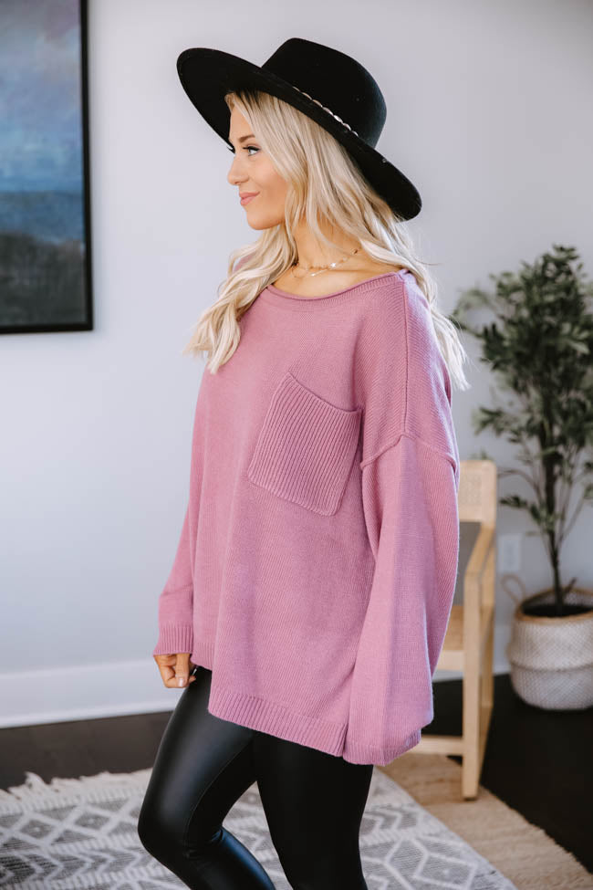 Cozy Up Pocket Sweater Dark Mauve