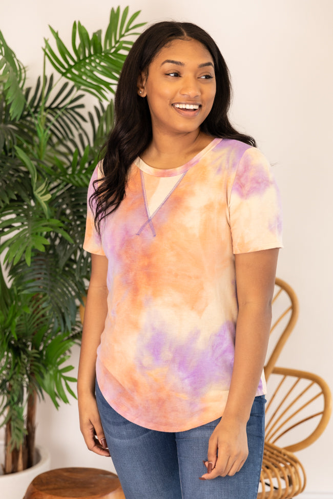 Rest And Relaxation Tie Dye Blouse Lavender/Orange