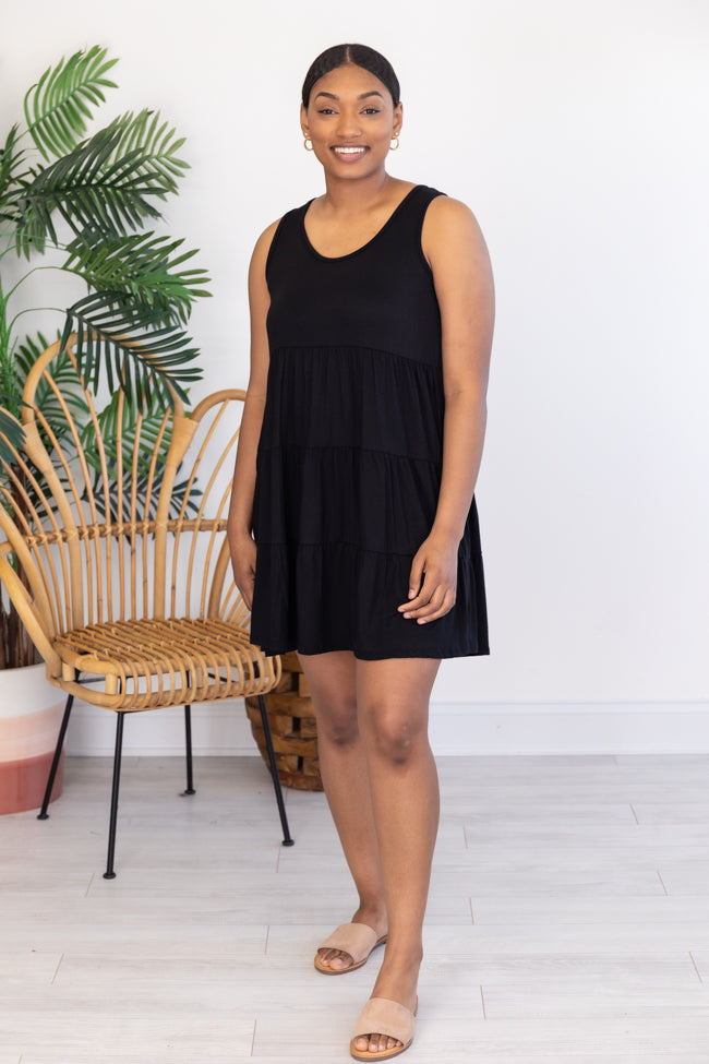 Giving Your All Tiered Tank Dress Black