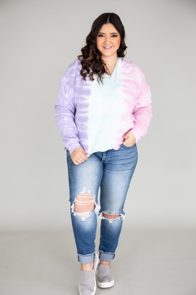 Eternity Of Happiness Tie Dye  Pullover Mint/Pink FINAL SALE