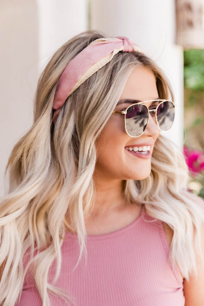 Seal Your Fate Rattan Woven Pink Headband