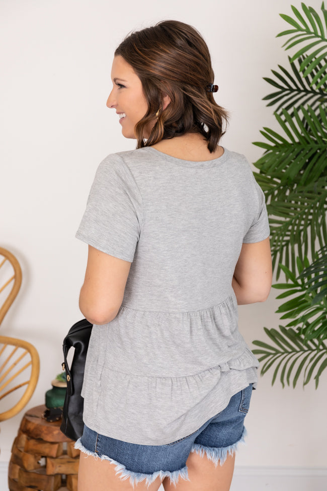 Power Of My Love Heather Grey Blouse
