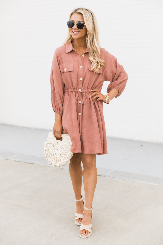 What I Like About You Rose Shirt Dress