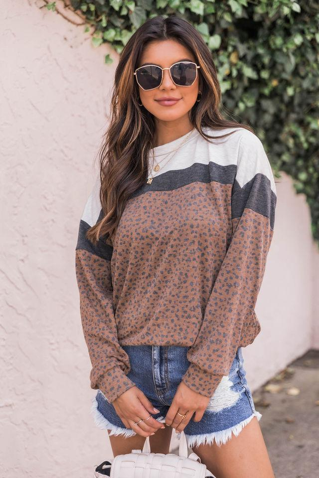 Gone In A Heartbeat Animal Print Brown Pullover