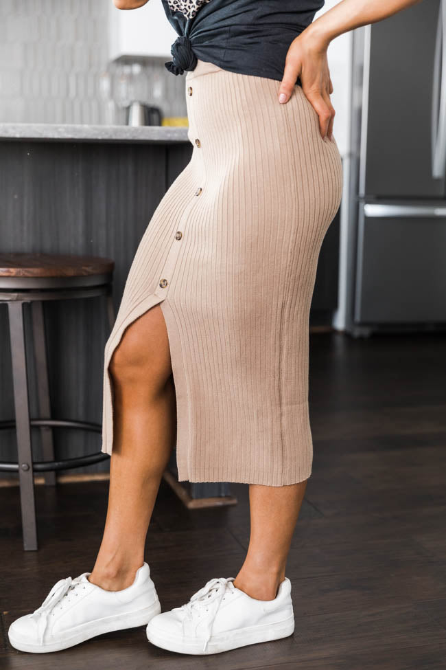 In The Limelight Midi Beige Skirt