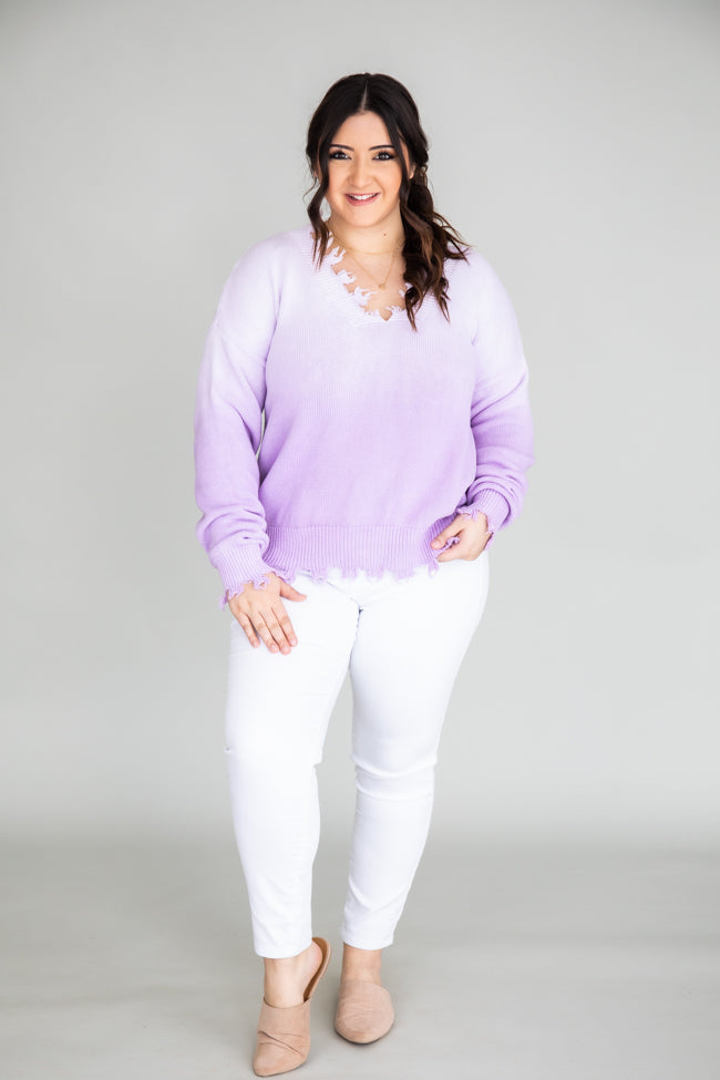 Come Alive Distressed Ombre Purple Sweater