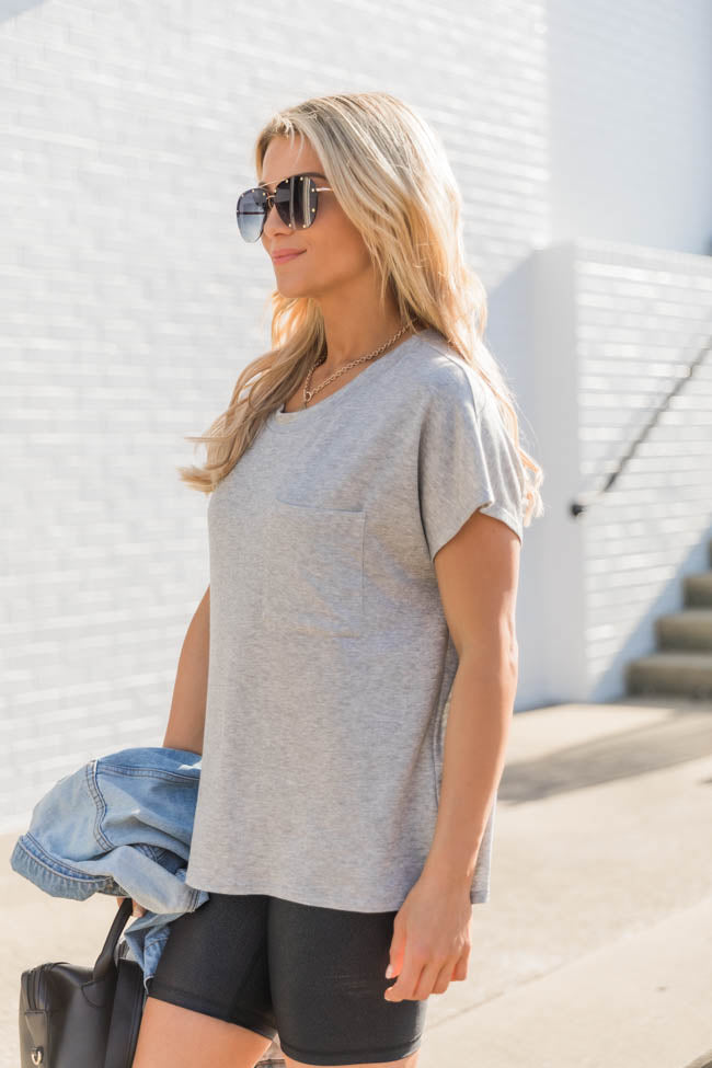 Restless Reminiscing Grey Blouse