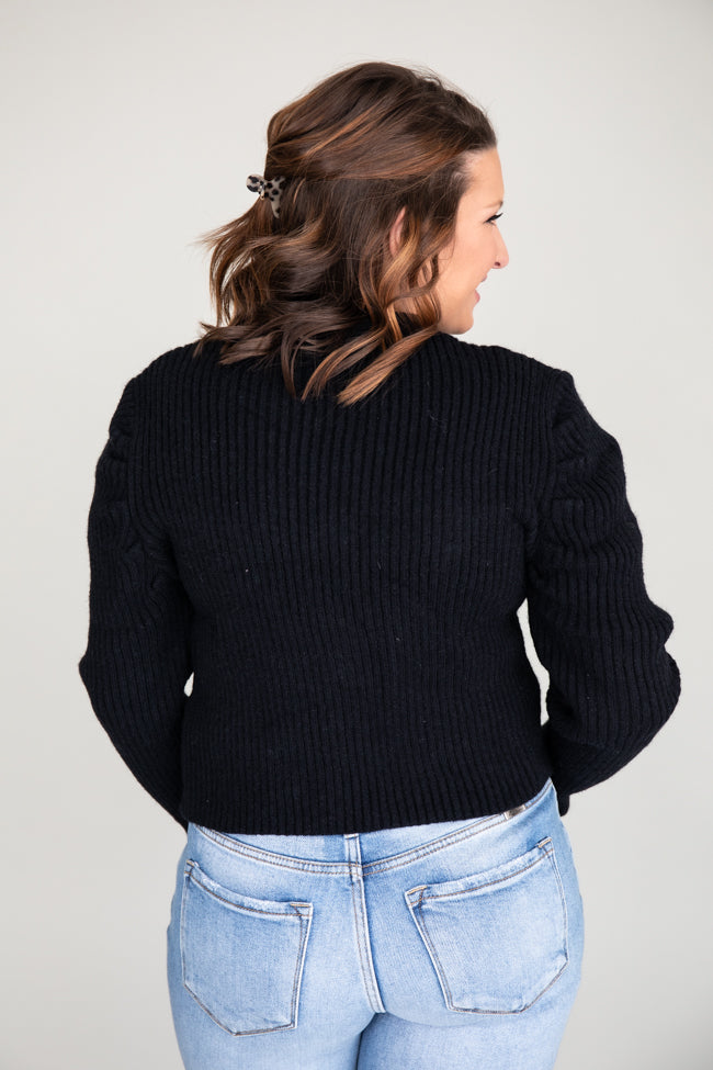 Classic Love Song Cropped Black Cardigan