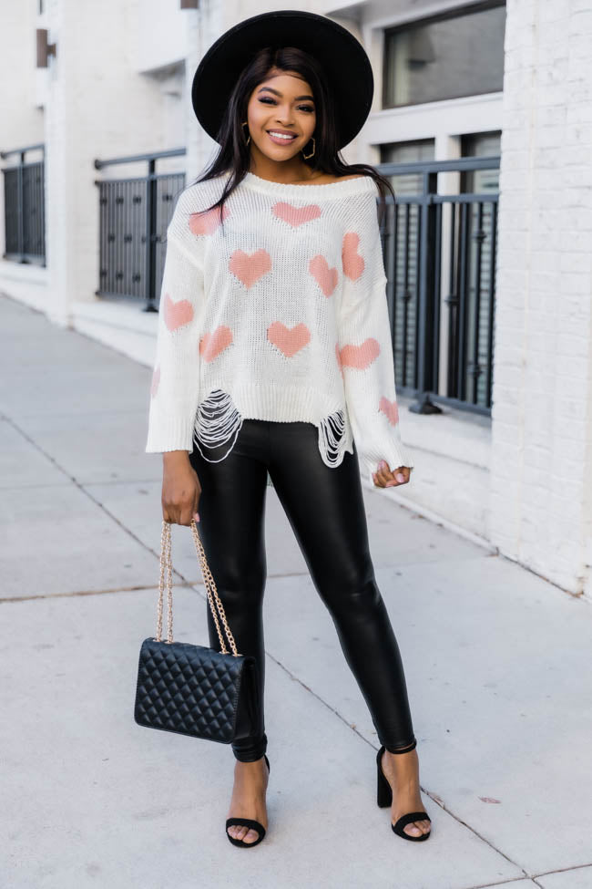 Simply Sweet Distressed Heart Ivory Sweater FINAL SALE
