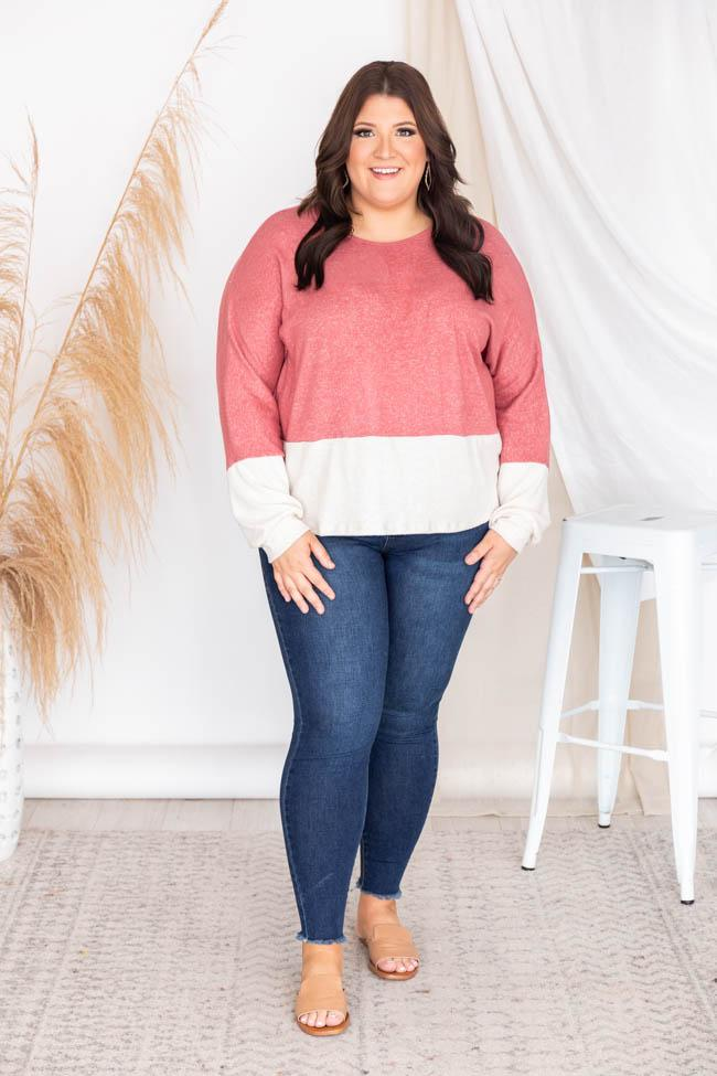 Meet Me For Coffee Colorblock Mauve Sweater