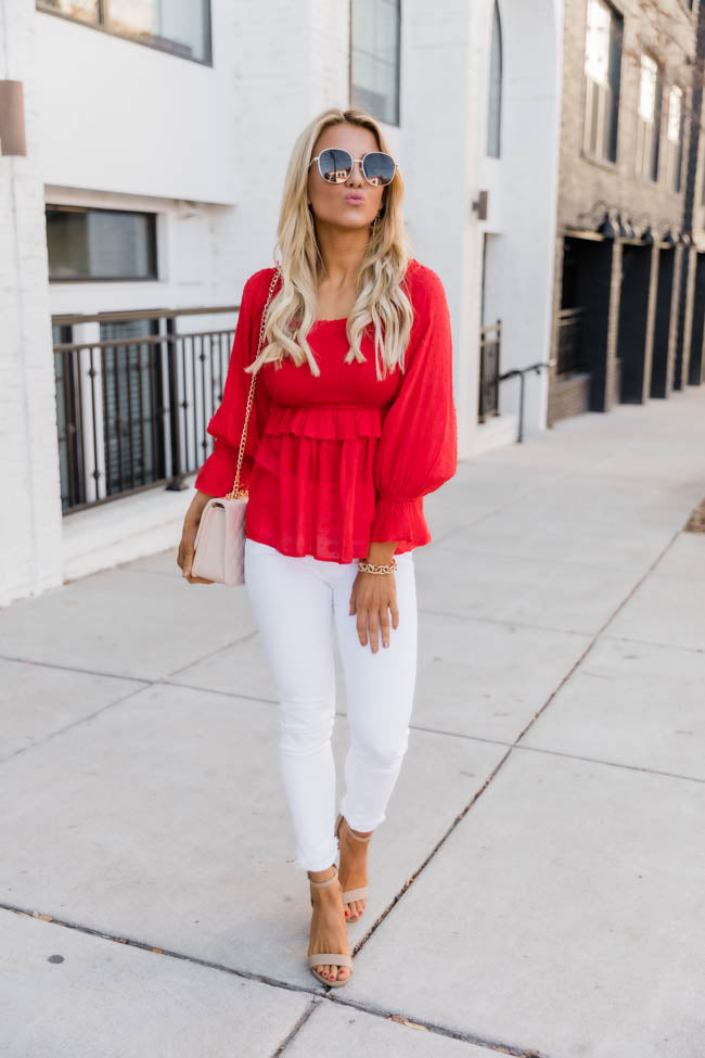 Soul Searching Smocked Red Blouse