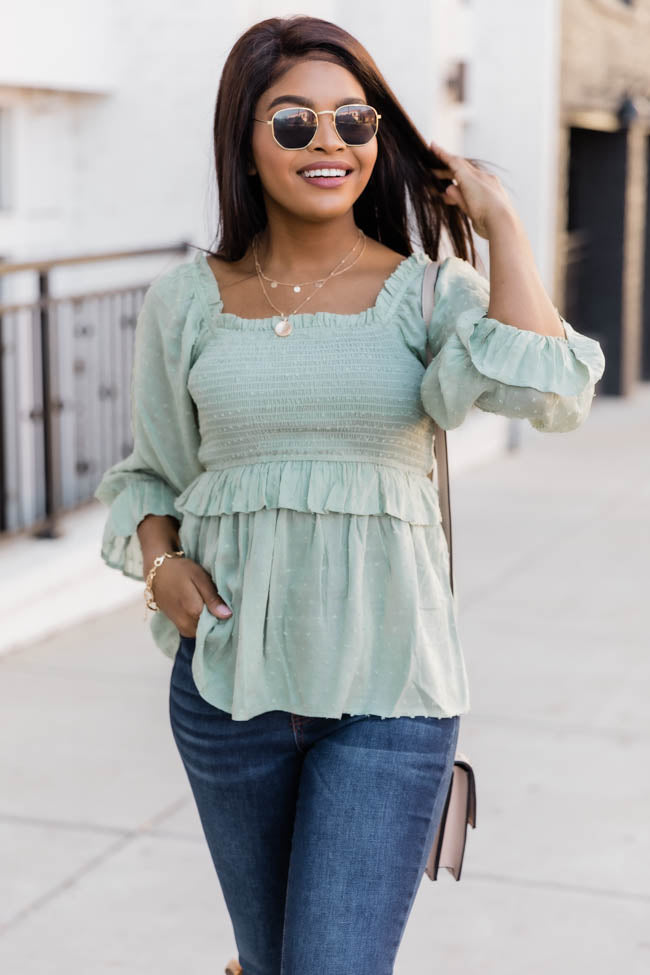 Soul Searching Smocked Sage Blouse