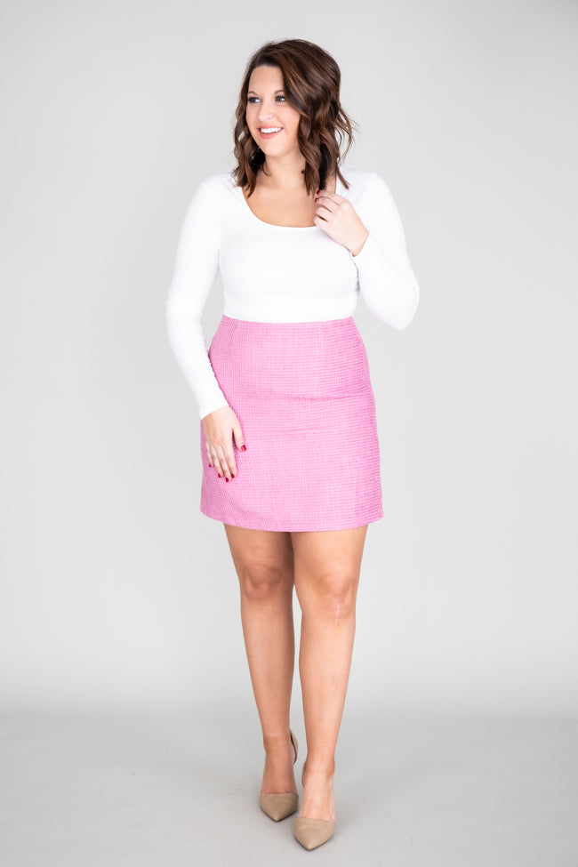 Lonely Heart Tweed Pink Skirt