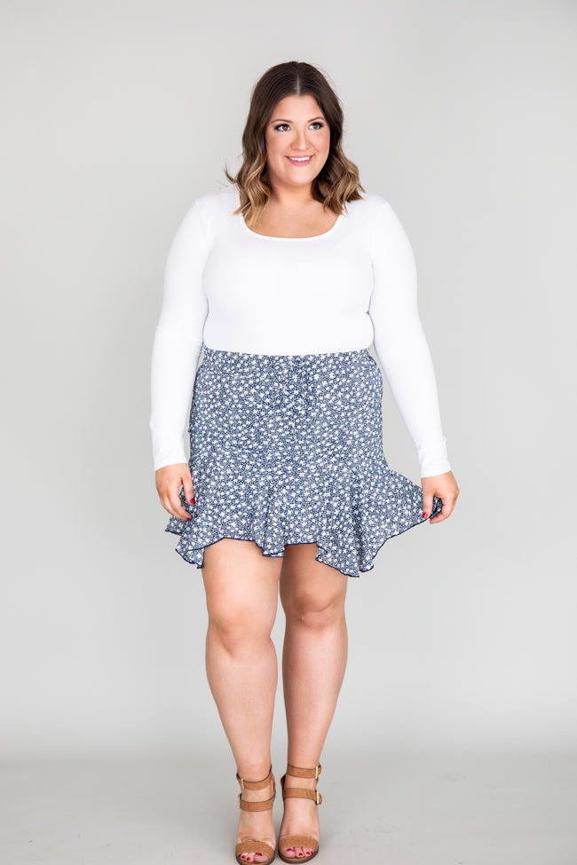 Charming Confidence Floral Navy Skirt