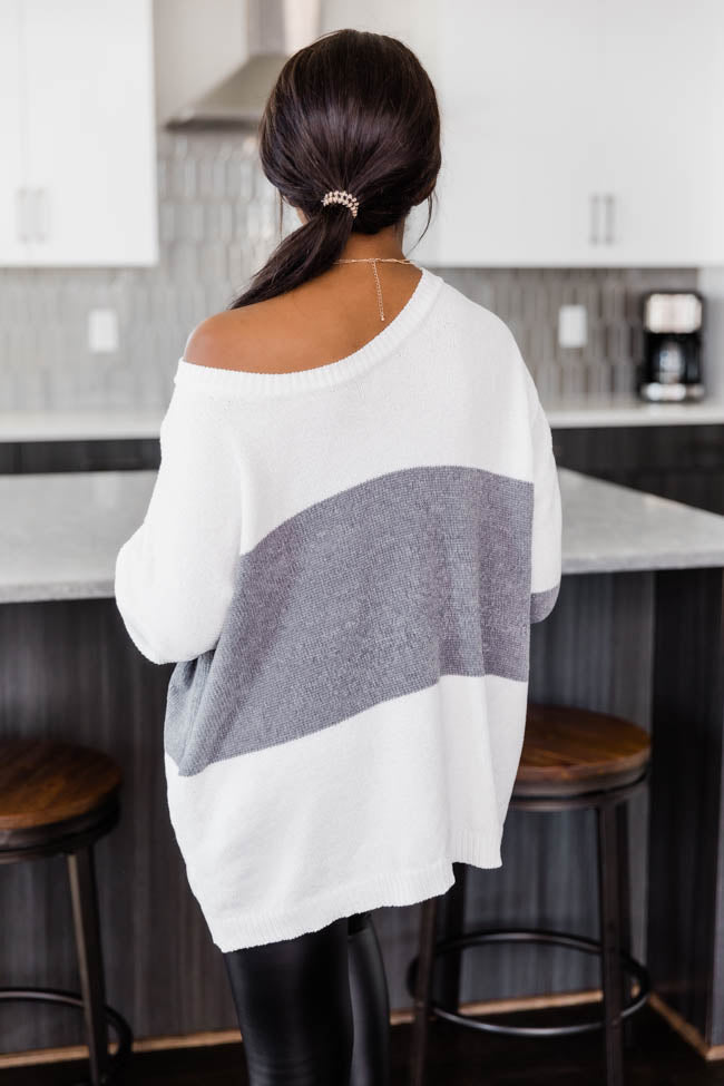 Waiting On The Weekend Colorblock Grey Pullover