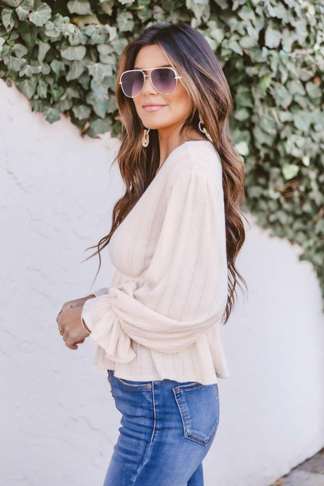 It's All Because Of You Oatmeal Blouse