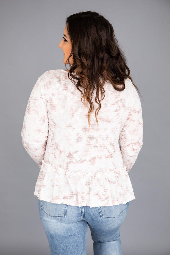 Middle Of A Dream Tie Dye Ivory/Mauve Blouse