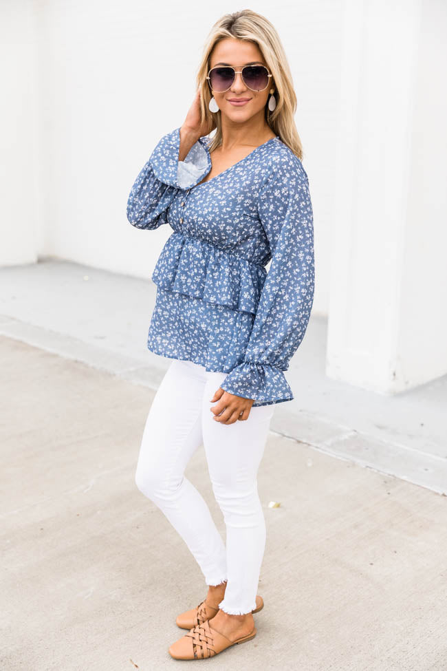 Field of Daydreams Floral Blue Blouse