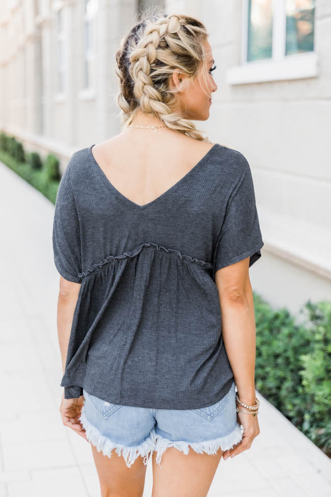 It's Your Destiny Knit Charcoal Blouse