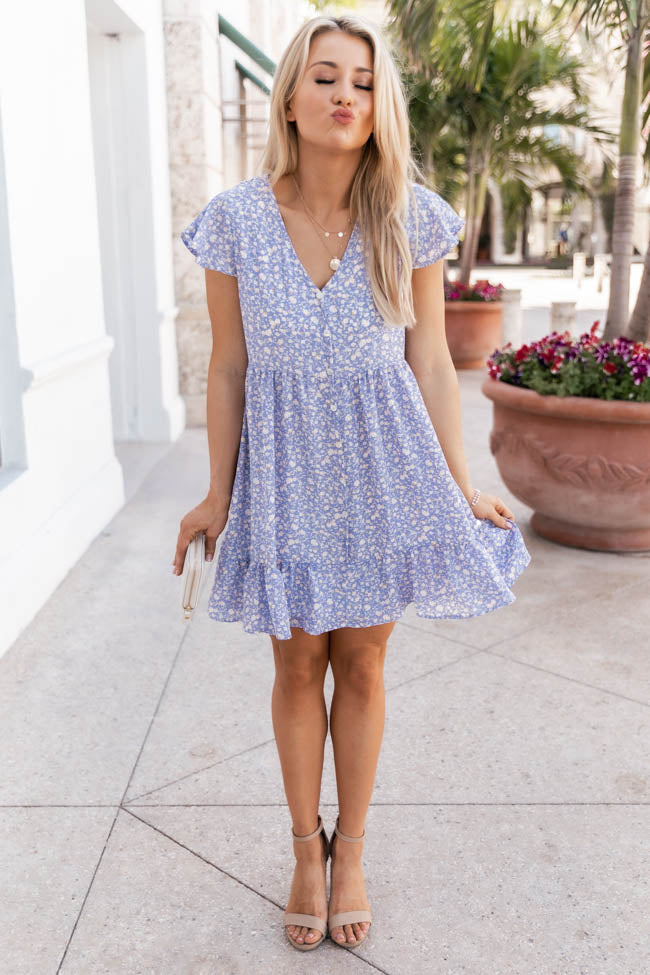 Noticed You Again Blue Floral Dress