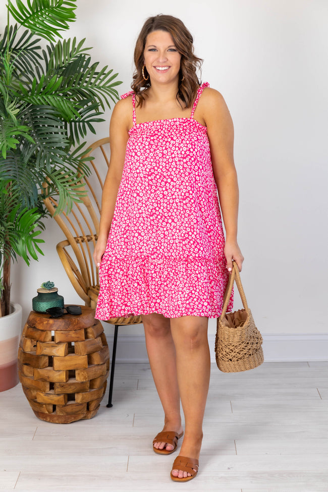 Getting Over You Ditsy Floral Pink Dress