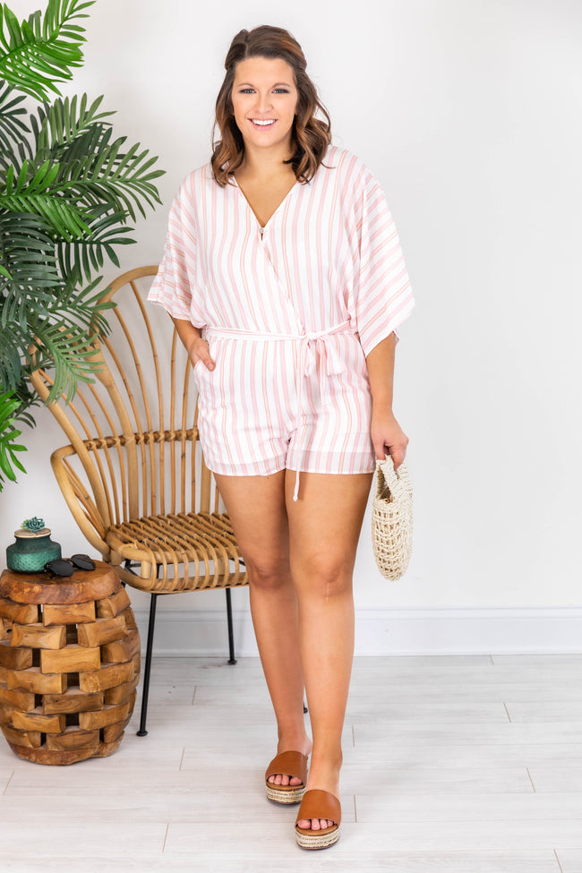 Meet Me In The Tropics Blush/Coral Kimono Romper