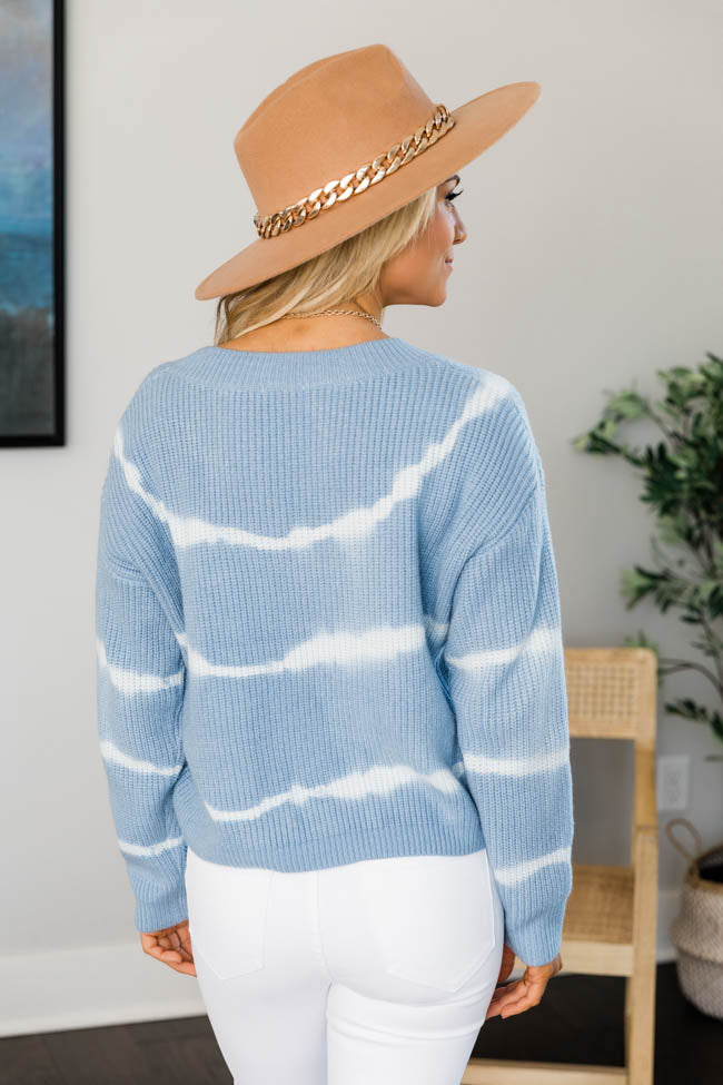 Save Your Heart Tie Dye Blue Sweater