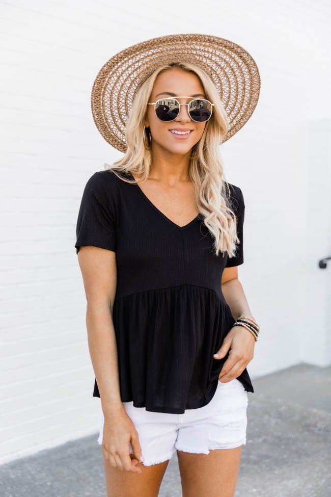 My Best Self Ribbed Knit Black Blouse