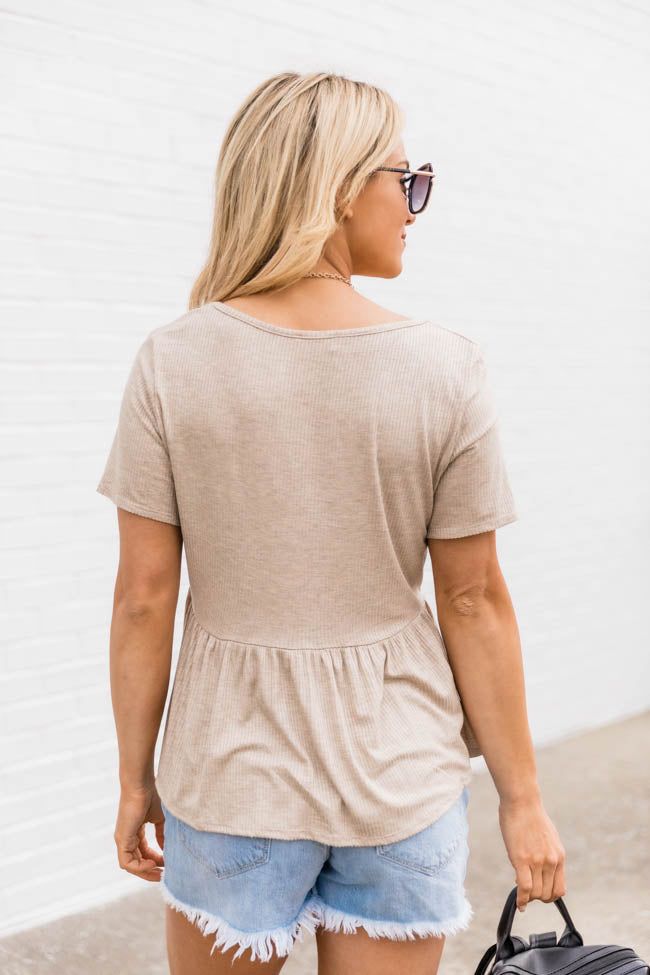 My Best Self Ribbed Knit Oatmeal Blouse