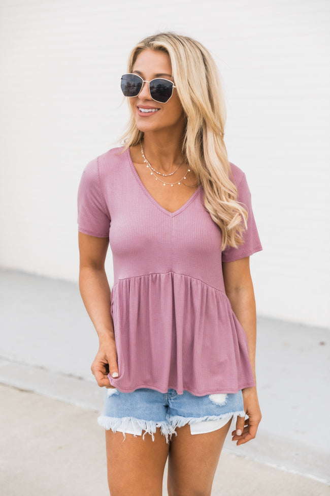 My Best Self Ribbed Knit Dark Mauve Blouse