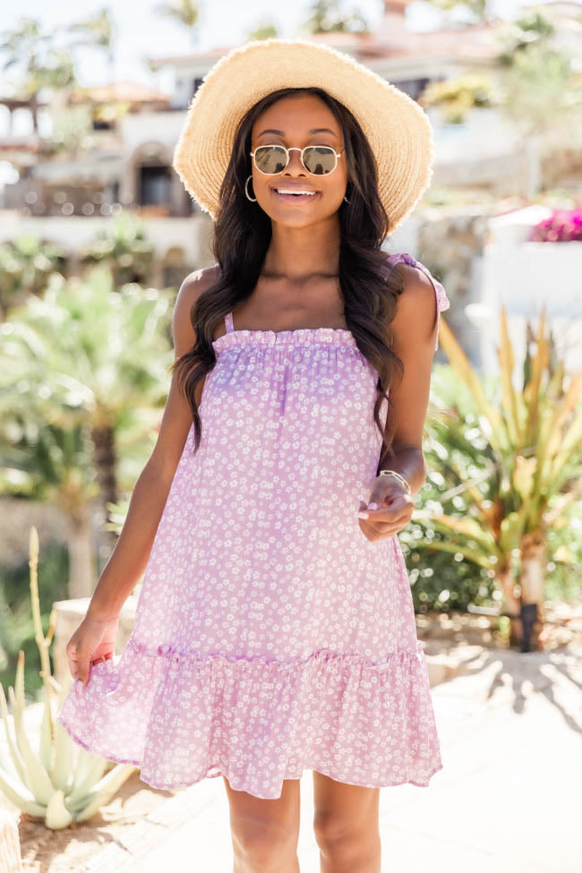 Getting Over You Ditsy Floral Purple Dress