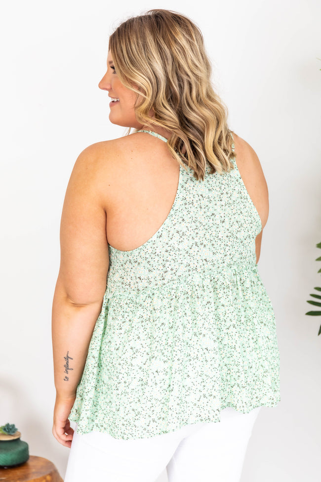 For The Rest Of Time Floral Green Tank