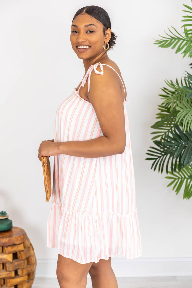 Sweet On You Striped Coral/Pink Dress