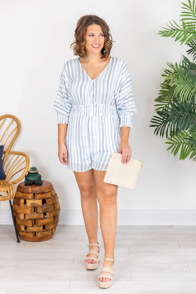 Coastal Cruise Blue Striped Romper