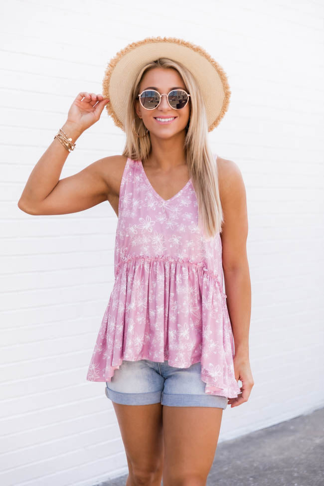 Fearless Soul Floral Pink Tank