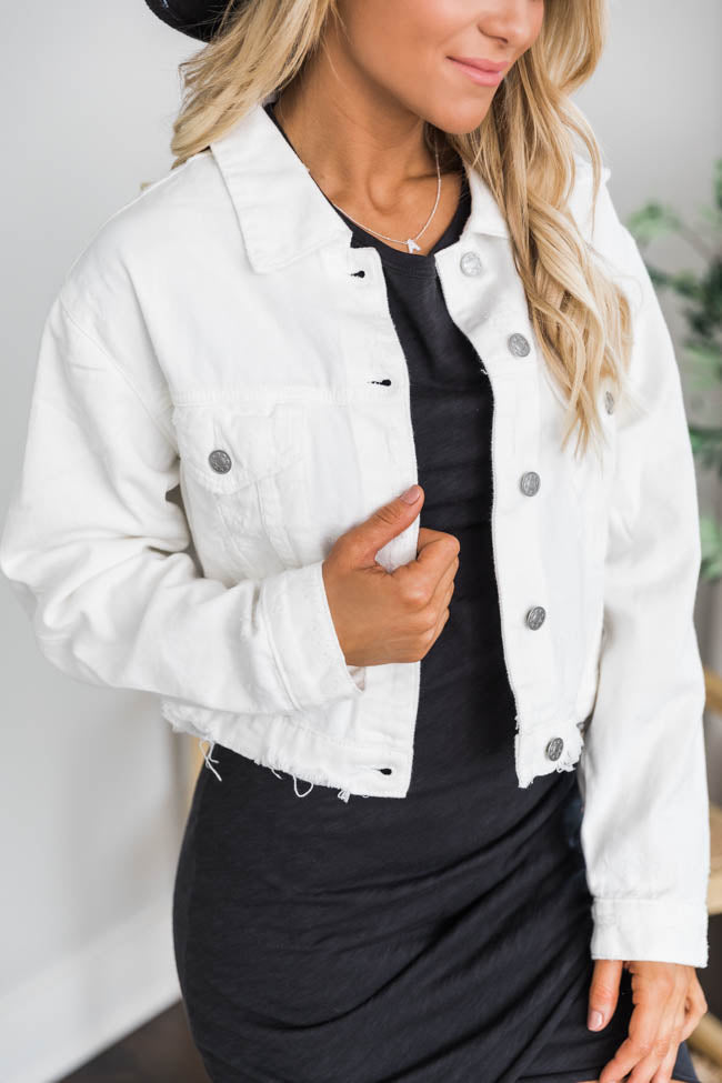 Big Reputation Distressed Denim White Jacket