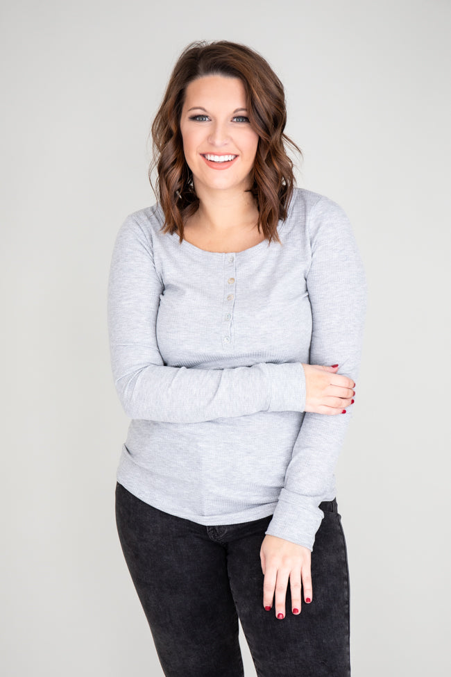 Unbelievable Story Henley Grey Blouse