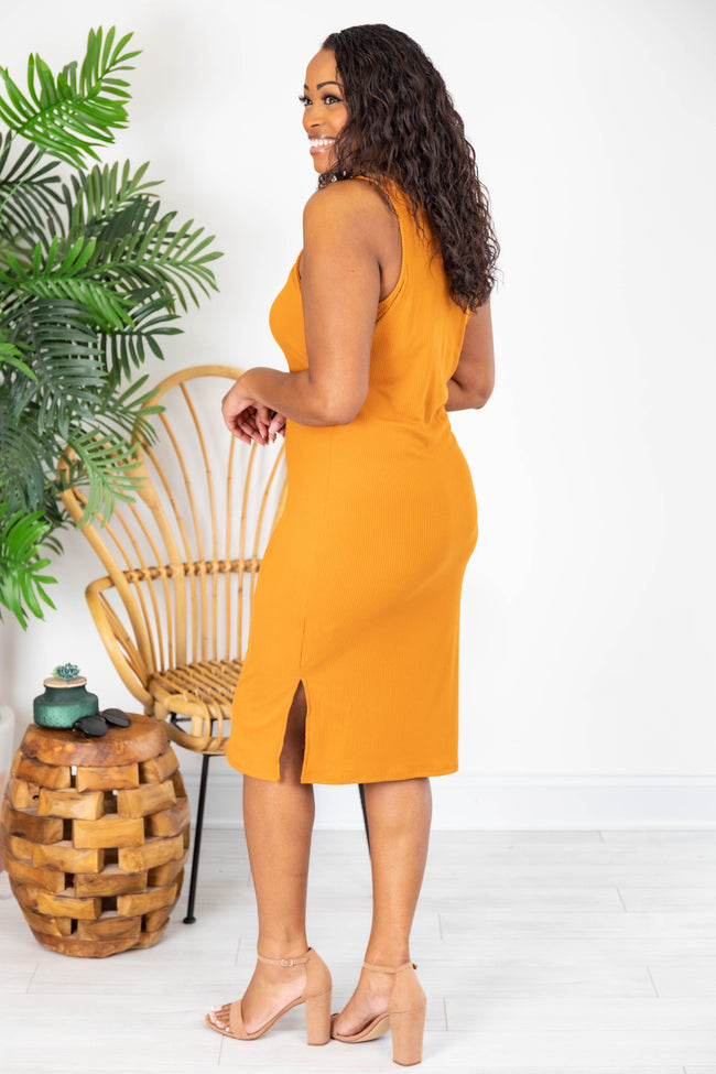 A Loving Endeavor Ribbed Midi Burnt Orange Tank Dress