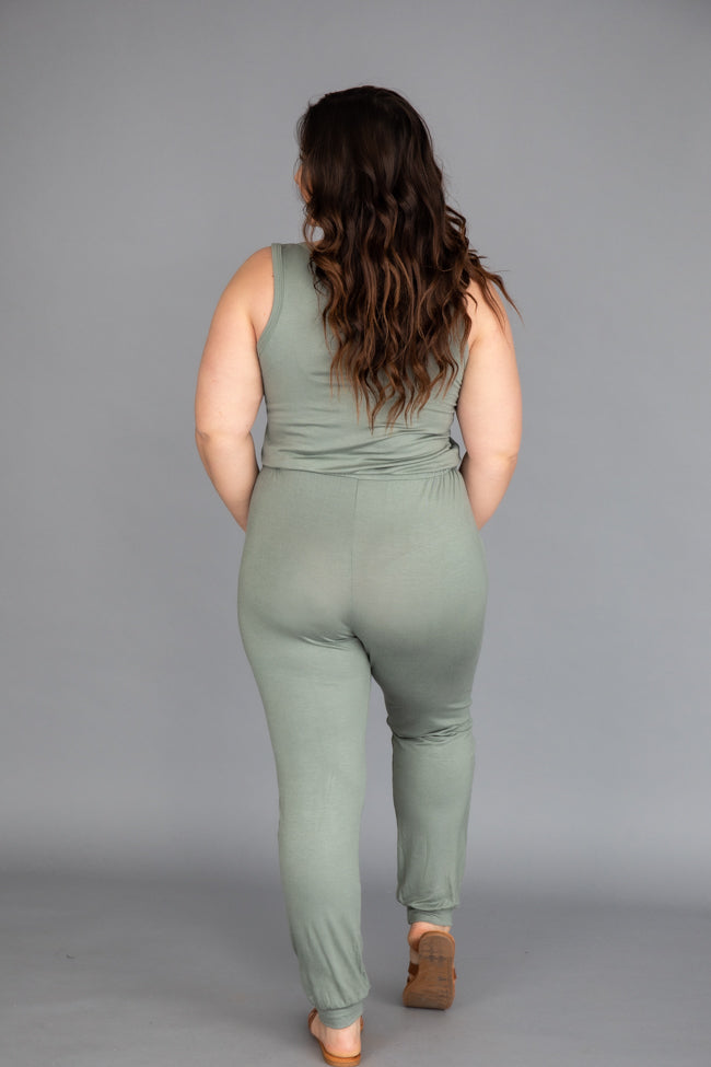 Impossible To Leave Sage Jumpsuit