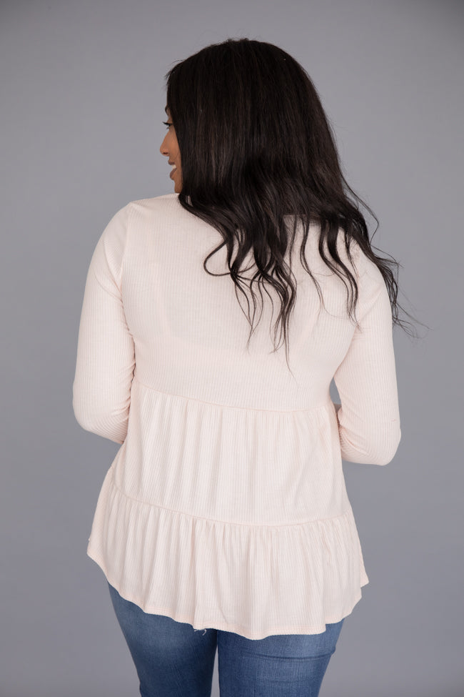 Guessing Game Tiered Blush Blouse