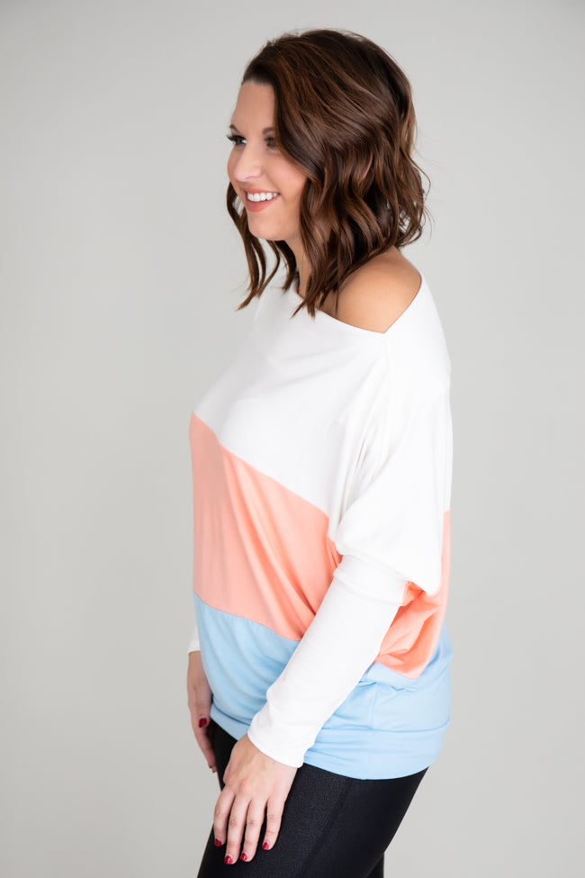 Perfect Moment Colorblock Coral/Blue Blouse