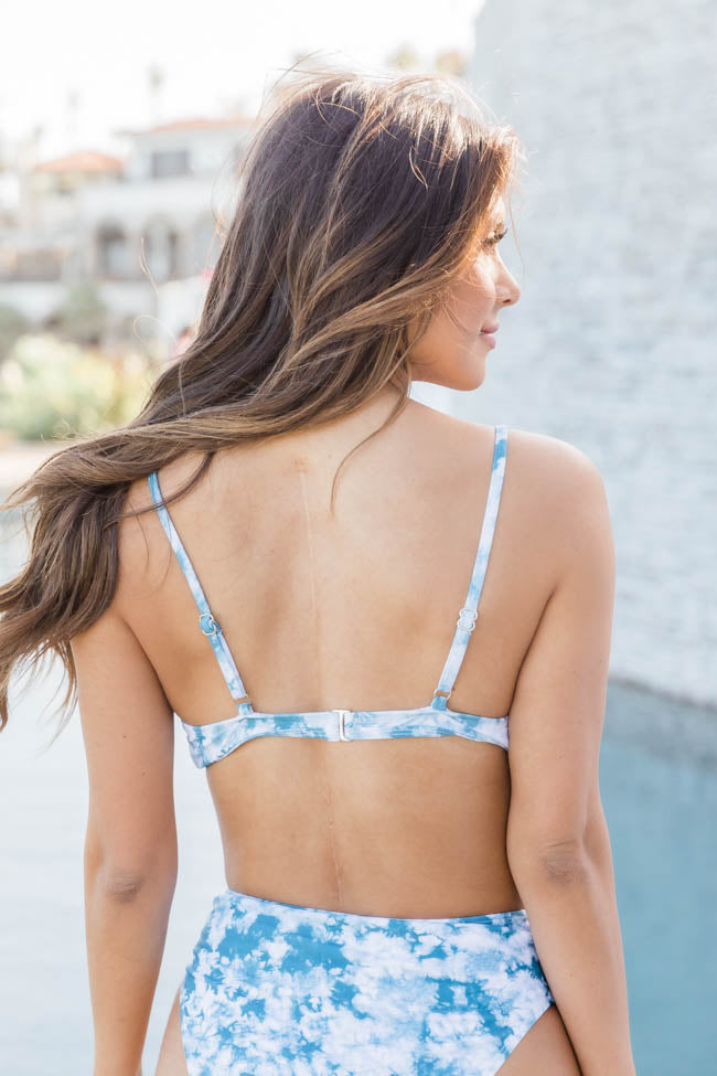 Make A Splash Tie Dye Blue Bikini Top