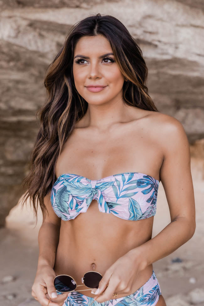 Sea Of Love Leaf Print Bandeau Bikini Top