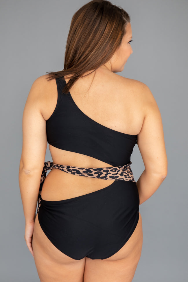 Tropical breeze One Shoulder Animal Print Black Swimsuit
