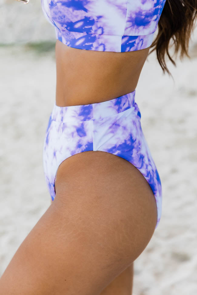 Beachside Escape Tie Dye Purple High Waisted Bikini Bottoms