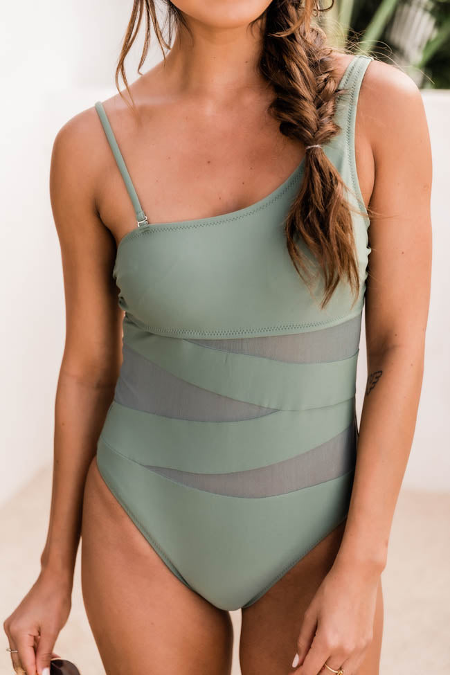 Meet Me At Waikiki Sage One Shoulder Swimsuit