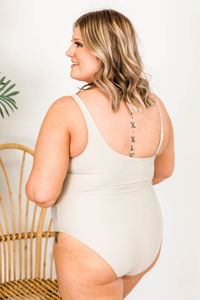 Meet Me At Waikiki Beige One Shoulder Swimsuit